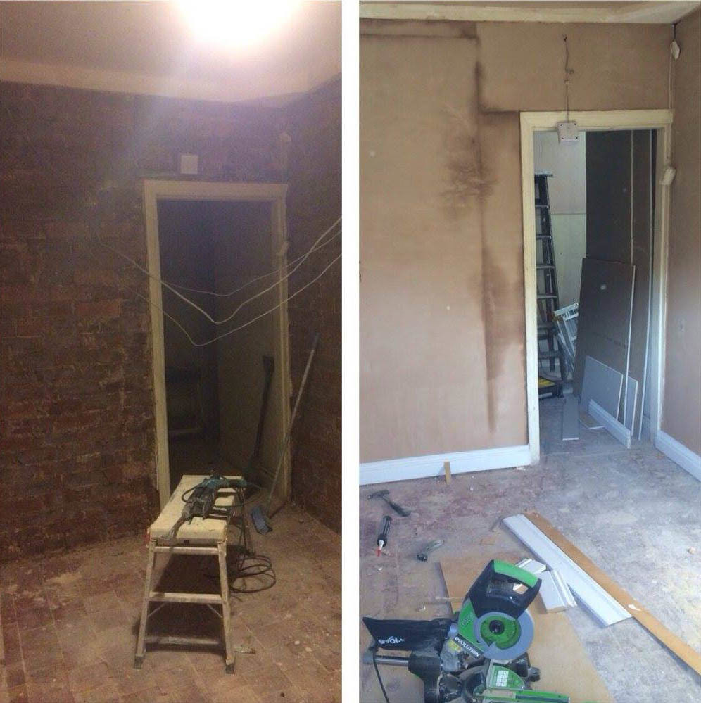 Flat internal door before and after